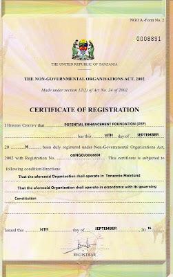 Tanzanian Organization Established